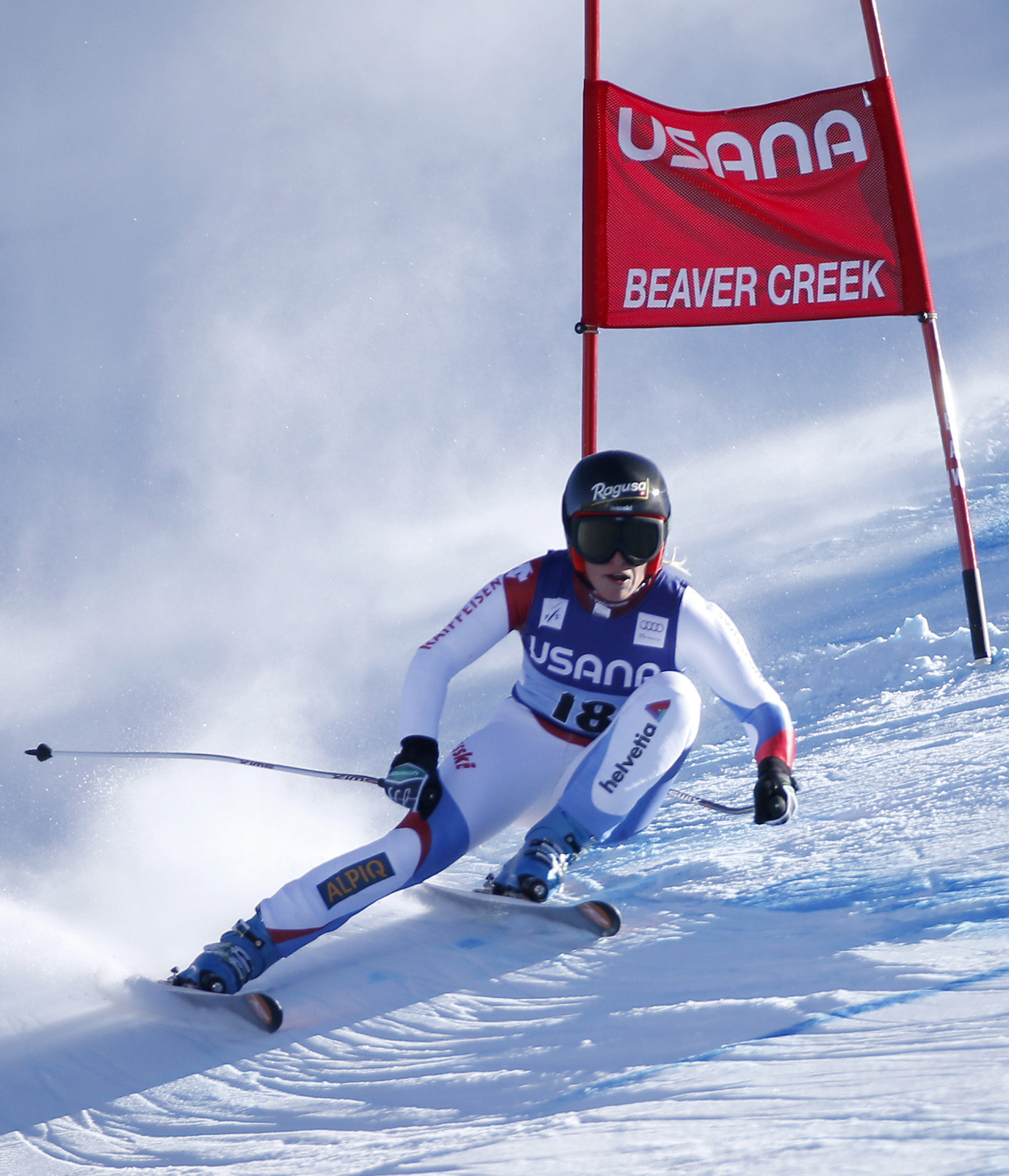 Gut of Switzerland skis past a gate on her way to winning the women's World Cup Super-G ski race in Beaver Creek